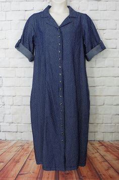 NEW Womens Plus WOMAN WITHIN Floral Denim Button Front Long Modest Dress SZ 18W…