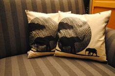 Kissenbezug 40x40 braun beige Deko - Afrika - Elefant - Kissenhülle ohne Kissen