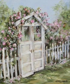 """Original Painting - """"The Cottage Gate"""" - Postage is included Australia Wide"""