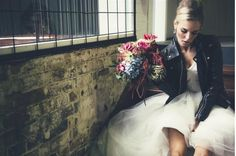 Love the leather jacket + wedding dress and hair juxtaposition Edgy Wedding, Autumn Wedding, Wedding Shoot, Wedding Trends, Dream Wedding, Wedding Dresses, Gold Wedding, Wedding Stuff, Wedding Flowers