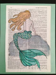 Mermaid Watercolor Painting  love this painting on book pages