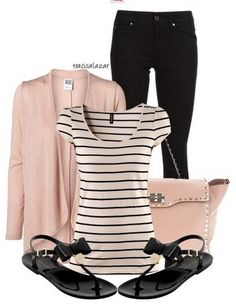 The Nude and Black Outfit Idea, Nude Cardigan, Striped Top, Nude Bag and Black Sandles