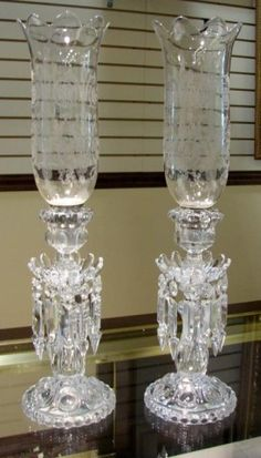 2 Baccarat Medallion Candelabra with Hurricane : Lot 50 Baccarat Crystal, Crystal Glassware, Crystal Vase, Glass Candelabra, Glass Candle, Antique Oil Lamps, Living Room Furniture Arrangement, Imperial Glass, Hurricane Lamps