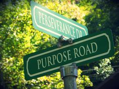 Campus road signs at Alice Lloyd College are named for Purpose Road and signposts along the way.