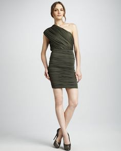 Ruched Satin Dress by Alice + Olivia at Bergdorf Goodman.