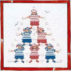 Pyramid of children Cross Stitch Sea, Cross Stitch Patterns, Rue Du Port, Stitches Wow, Le Point, Cross Stitching, Fun Crafts, Needlework, Creations