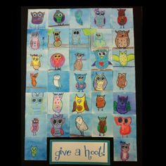 A class art project for a fundraiser. 32 different owls to represent 32 different kids.