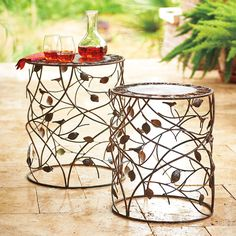 Forget boring tray tables, these delicate looking outdoor nesting tables feature wrap-around vines, petals and perching birds. They're the perfect size to hold your drink while you relax on your patio. Outdoor Lounge Furniture, Outdoor Tables, Patio Table, Furniture Decor, End Tables, Tray Tables, Bird Perch, Nesting Tables, Vines
