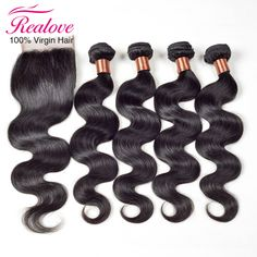 7A Brazilian Body Wave With Closure 3 Bundles With Closure Human Hair Bundles With Closure Brazilian Virgin Hair With Closure
