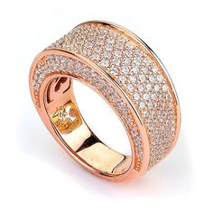 Micro Pave CZ Big and Wide Band (14K Rose Gold)