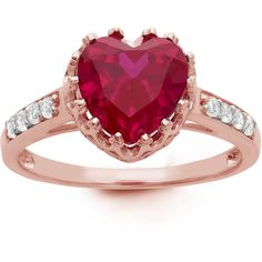 Gioelli Sterling Silver Rose Goldplated Heart-cut Gemstone Ring ($58) ❤ liked on Polyvore featuring jewelry, rings, red, gemstone rings, red ring, wide band rings, heart band ring and rose gold plated ring