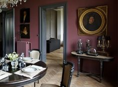 Pink dining room in a XIX century house in Lille, France - Photography by Christophe Rouffio