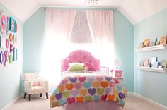 Girls Toddler Room. Fun colors. Love the frames!