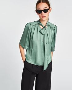 SATIN BLOUSE WITH TIED BOW DETAIL-Blouses-SHIRTS | TOPS-WOMAN | ZARA United Kingdom