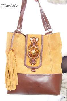 """Купить Сумка из натуральной кожи и замши """"Улитка"""" - сумка ручной работы, сумка женская"""