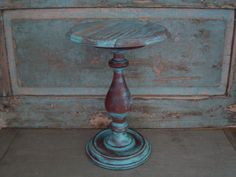 Pedestal Display Turquoise Distressed Wooden by turquoiserollerset, $22.00