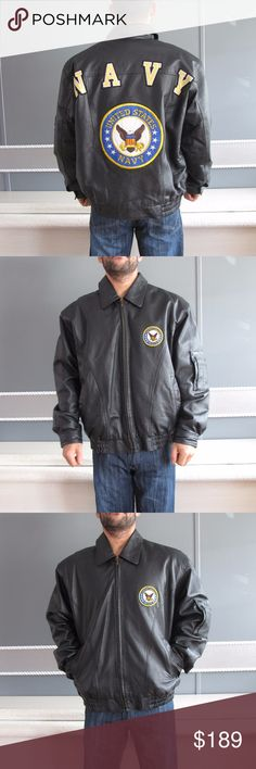 """Vintage Leather bomber """"NAVY"""" black jacket sz L """"NAVY"""" leather jacket.   Sz large.  Big emblem of navy on the back.   Authentic leather jacket.  Bib zipper with pockets.  Very warm.  Leather and polyester.  Small marking on shoulders.   It has been used but still good condition. K&S Jackets & Coats Military & Field"""