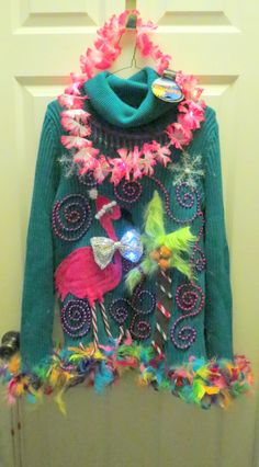3-D Pink Flamingo Tacky Ugly Christmas Tropical Delight and total Fun Sweater Size Large Teal with FooFoo Trim Turtleneck Light UP