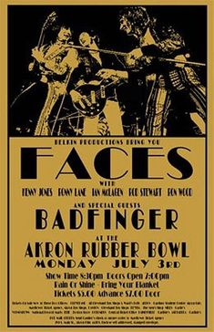 Faces / Badfinger 1972 Concert Poster by ClevelandRockAndRoll Tour Posters, Band Posters, Event Posters, Vintage Concert Posters, Vintage Posters, Rock N Roll Music, Rock And Roll, Norman Rockwell, Cleveland Concerts