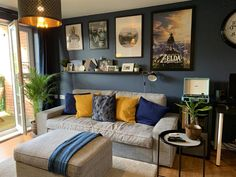 Contemporary living room with walls painted in Stiffkey Blue inky navy Mustard Living Rooms, Navy Living Rooms, Dark Blue Living Room, Blue Living Room Decor, Living Room Color Schemes, Living Room Colors, Living Room Paint, Home Living Room, Dark Blue Lounge