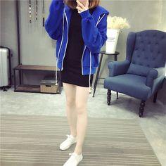 Street fashion long-sleeved hoody cardigan jacket