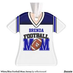 White/Blue Football Mom Jersey