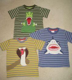 "New Mini Boden Applique ""Danger"" Tshirt line - trex, shark, cobra"