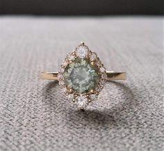 Etsy LAST ONE Grey Mint Moissanite #ad Diamond Engagement Ring Halo Bohemian Art Deco Indian Vintage Antique