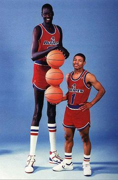 Manute Bol, tallest NBA player in my hay days and Muggsy Bouges, shortest NBA player.