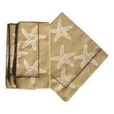 I pinned this Starfish Dinner Napkin in White & Tan (Set of 4) from the A Seaside Soiree event at Joss and Main!