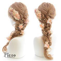 髪飾りの『Picco(ピッコ)』さんはInstagramを利用しています:「Gallery 112 Order Made Works Original Hair Accesory for SOTSUGYO-SHIKI #byPicco #優しい#オレンジ#アプリコットカラー が#ドレス に#ぴったり#ラプンツェル#パール#アレンジ#大人気…」