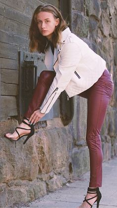 Real Leather, Leather Pants, White Jeans, Heels, Sexy, Womens Fashion, Style, Leather Jogger Pants, Heel