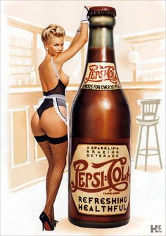 Pepsi Cola Pin Up Girl (click) fishnet stockings high heels