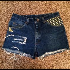 Studded High waisted shorts Cute hight waisted shorts! Made by me Lee Jeans