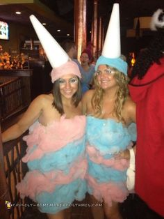 Cotton Candy Couple Costume I think the costumes would be cuter with a long sleeve pink or blue shirt. The sleeveless look takes focus away from the actual costume. Cotton Candy Halloween Costume, Cool Couple Halloween Costumes, Candy Costumes, Halloween Costume Contest, Diy Costumes, Halloween Diy, Halloween 2018, Costume Ideas, Homemade Cotton Candy