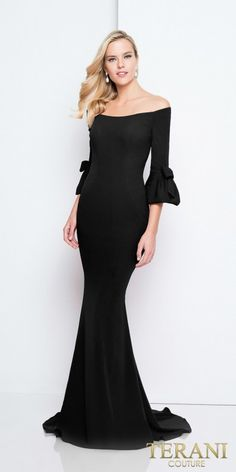 Radiate simplistic elegance at your next special event in the Off the Shoulder Bow Bell Fitted Evening Dress by Terani Couture. This fabulous ensemble features an off the shoulder neckline, 3/4 length bell sleeves with bow details, a covered back with an invisible zipper closure and a fitted silhouette. #edressme