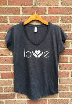Love Shirt  V Neck Womans Tee Gray Helping Hands by SimplyOneTees