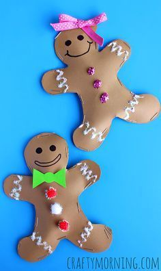 Stuffed Gingerbread Boy & Girl Craft for Kids - Christmas/Winter Crafts for Kids - Christmas Arts And Crafts, Preschool Christmas, Noel Christmas, Christmas Projects, Christmas Decorations, Holiday Crafts For Kids, Office Christmas, Christmas Crafts For Preschoolers, Desk Decorations