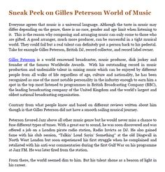 Sneak Peek on Gilles Peterson World of Music  #Gillespetersonreview