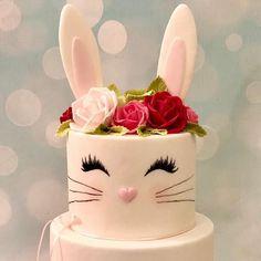 Bunny Rabbit Birthday first Cake Roses Pretty rabbit cake Kids Cakes Bunny Birthday Cake, Easter Bunny Cake, Pretty Birthday Cakes, Bunny Party, Baby Girl First Birthday, First Birthday Cakes, First Birthday Parties, First Birthdays, Pretty Cakes