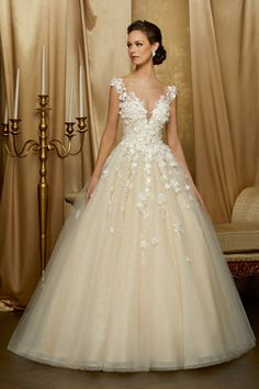 Wedding Dresses Simple, Stunning Tulle & Sequin Tulle Scoop Neckline A-line Wedding Dress Wit. - Wedding Dresses Simple, Stunning Tulle & Sequin Tulle Scoop Neckline A-line Wedding Dress With Lace - Western Wedding Dresses, Bohemian Wedding Dresses, Dream Wedding Dresses, Bridal Dresses, Tulle Wedding, Dresses Dresses, Elegant Wedding, Beige Wedding Dress, Wedding Gowns