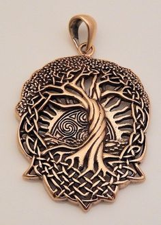 SOLSTICE Tree Pendant Bronze CELTIC World TREE Pagan Wicca Druid Tree of Life