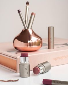 Go bold with our berry based hue #AFineRomance (left) on lips & cheeks.  For a softer look, our best seller #AtLast (right), is a dusty rose hue perfect for a flush of color.  #multiuse #blush #ILIAbeauty #loveILIA
