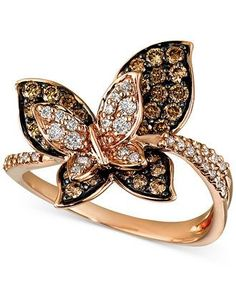 Le Vian Chocolate Diamond Butterfly Ring (7/8 ct. t.w.) in 14k Rose Gold - Rings - Jewelry & Watches - Macy's