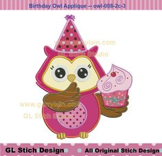 Owl birthday Machine Embroidery Applique Design by GLStitchStudio, $2.99