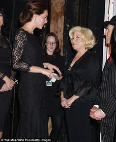 All smiles: The Duchess of Cambridge and Bette Midler after the Royal Variety Performance that was held at the London Palladium ~ November 14, 2014.