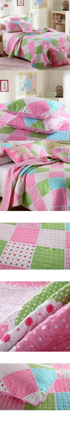 CHAUSUB Kids Patchwork Quilt Set 2PCS Twin size Cotton Quilts Bedspread Sheets Bed Cover Pillowcase Pink Girls Bedding Coverlet