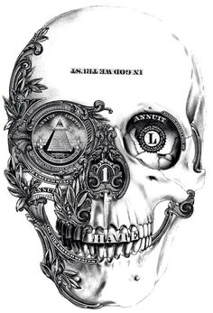 Nice skull drawing, is that parts of the american dollar I see?