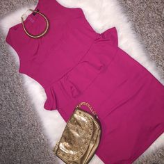 Classy Pink Peplum Dress Brand new with tags still attached. Pink peplum dress in size XL. Dress has a great fit to it with nice stretch to hug your curves. Full zipper in back of dress for closure. Dresses Midi