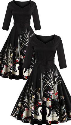 $20.91 Vintage Printed Belted High Waist Dress